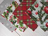 Отрез новогоднего хлопка Веточки омелы и хвои 50*50 см, фото 2