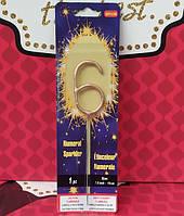 Свеча цифра бенгальский огонь 6 золото, фото 1