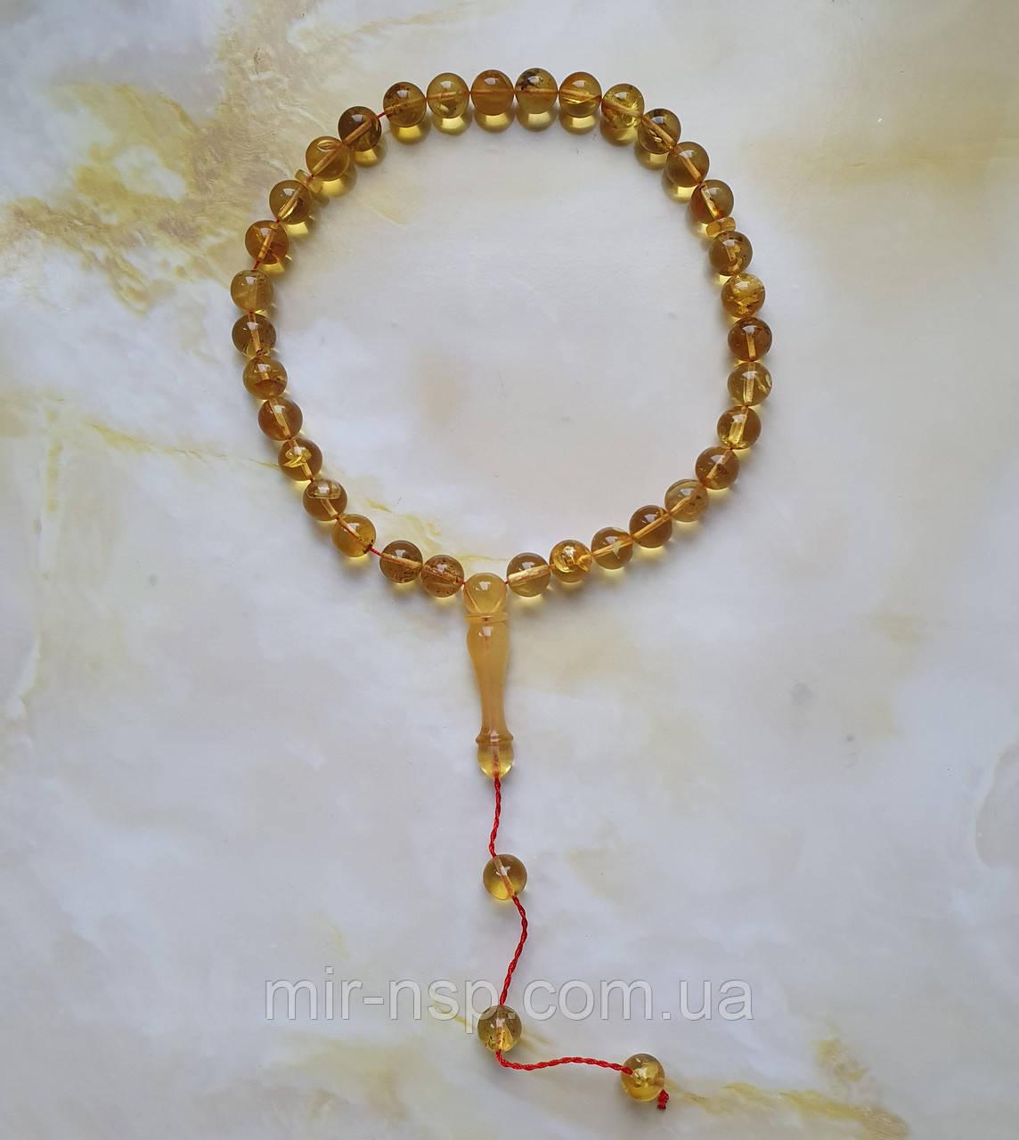 Четки 33 бусины 100% натуральный янтарь (не пресс, не плавка) шар 9 мм вес 13г