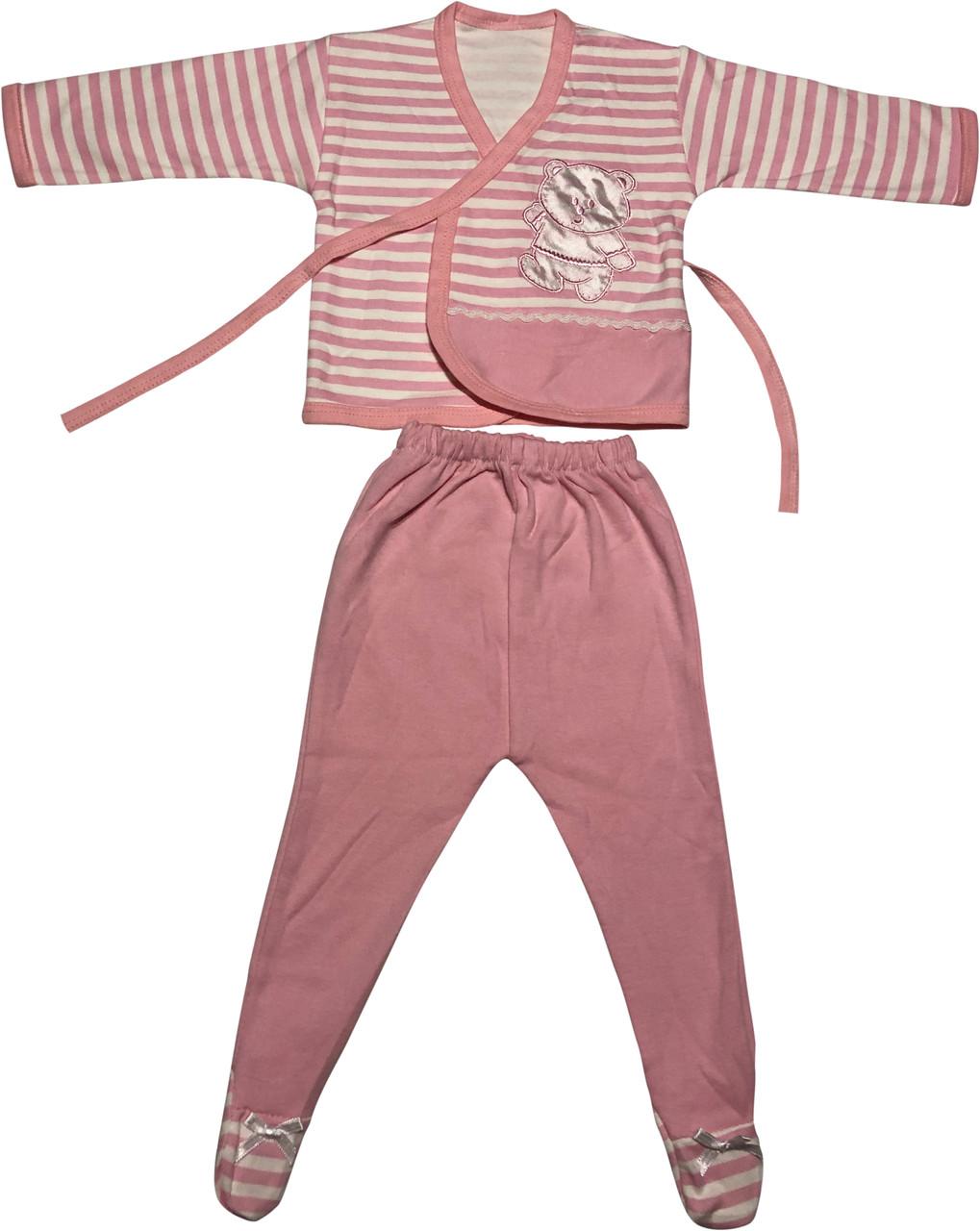 Дитячий костюм ріст 68 3-6 міс трикотажний рожевий костюмчик на дівчинку комплект для новонароджених малюків