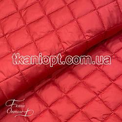 Ткань Плащевка стеганая Ромбик (красный)