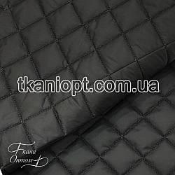 Ткань Плащевка стеганая Ромбик (черный)