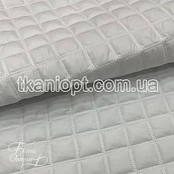 Ткань Плащевка стеганая Ромбик двойной (белый)