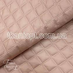 Ткань Плащевка стеганая Ромбик двойной (пудра)