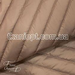 Ткань Плащевка стеганая Полоска (капучино)