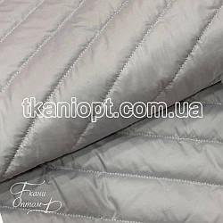 Ткань Плащевка стеганая Полоска (светло-серый)