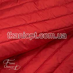 Ткань Плащевка стеганая Полоска (красный)