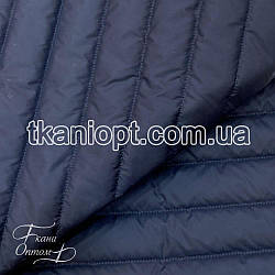 Ткань Плащевка стеганая Полоска (темно-синий)