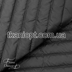 Ткань Плащевка стеганая Полоска (черный)