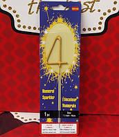 Свеча цифра бенгальский огонь 4 золото, фото 1
