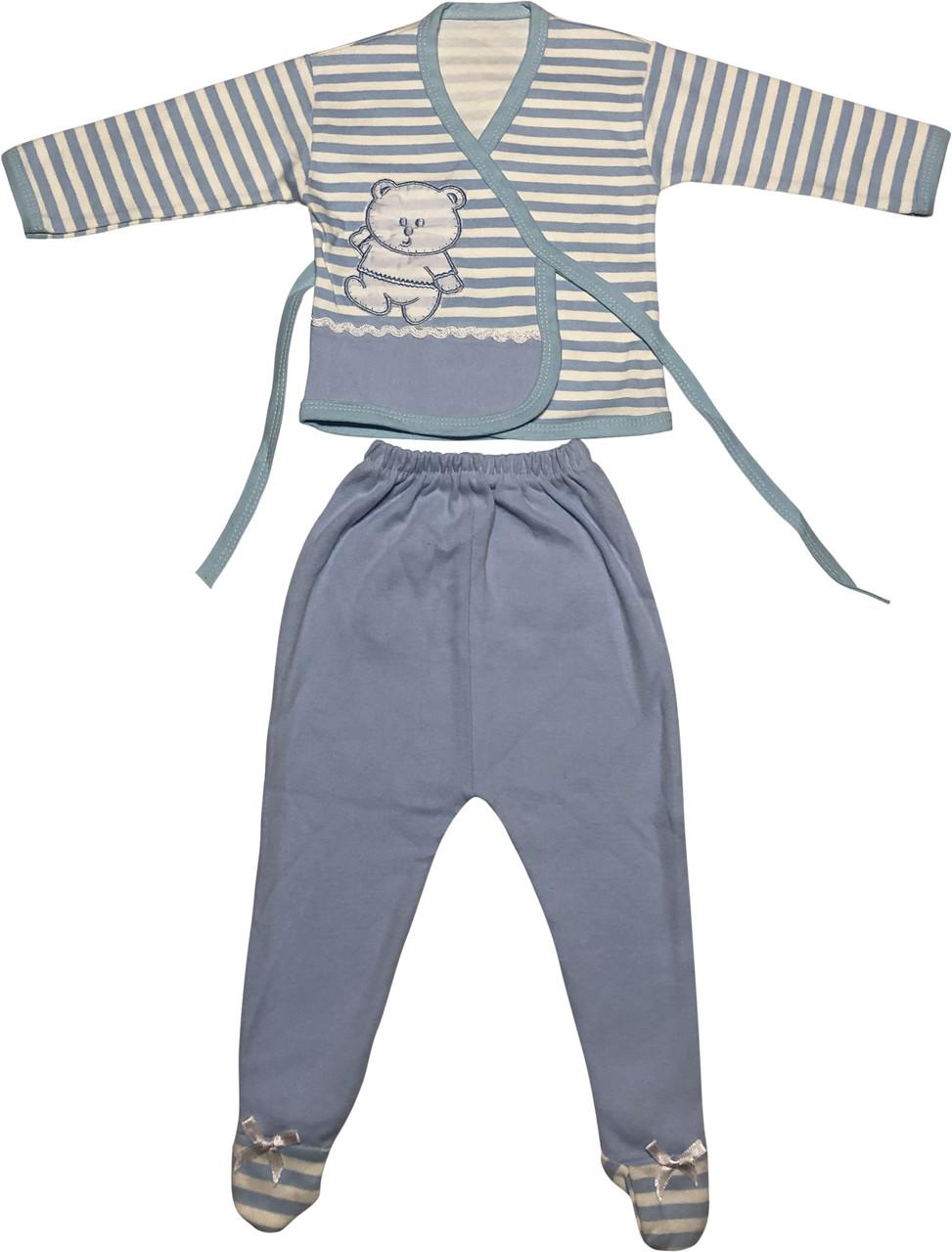 Детский костюм рост 68 3-6 мес трикотажный голубой костюмчик на мальчика комплект для новорожденных малышей ТН153