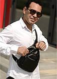 Мужская черная сумка-мессенджер (слинг) наплечная через плечо, кожзам (качественная экокожа), фото 2