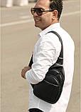 Мужская черная сумка-мессенджер (слинг) наплечная через плечо, кожзам (качественная экокожа), фото 4