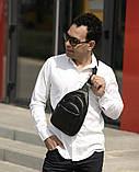 Мужская черная сумка-мессенджер (слинг) наплечная через плечо, кожзам (качественная экокожа), фото 5