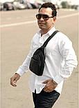 Мужская черная сумка-мессенджер (слинг) наплечная через плечо, кожзам (качественная экокожа), фото 6