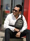 Мужская черная сумка-мессенджер (слинг) наплечная через плечо, кожзам (качественная экокожа), фото 7