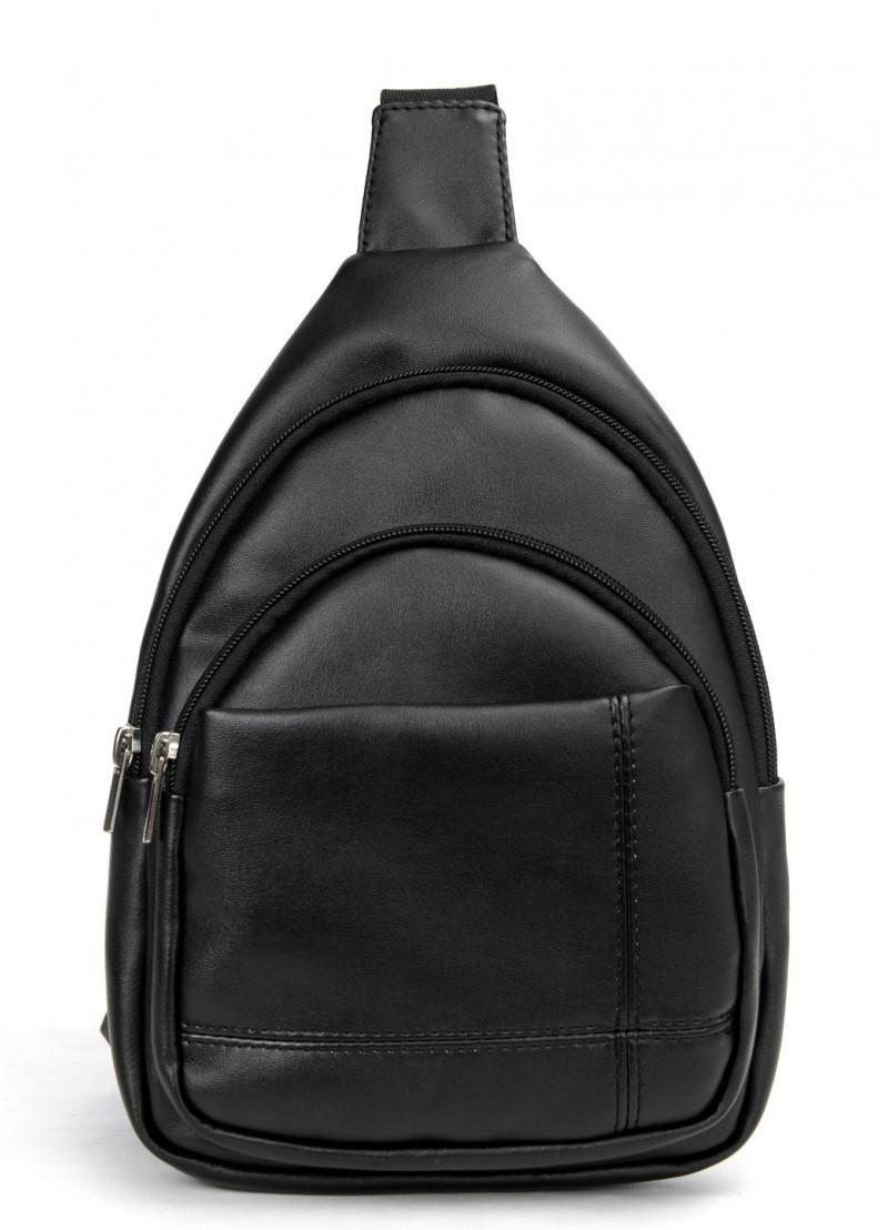 Мужская черная сумка-мессенджер (слинг) наплечная через плечо, кожзам (качественная экокожа)
