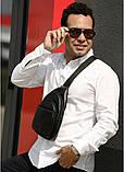 Мужская черная сумка-мессенджер (слинг) наплечная через плечо, кожзам (качественная экокожа), фото 3