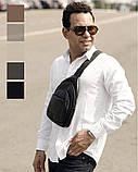 Мужская черная сумка-мессенджер (слинг) наплечная через плечо, кожзам (качественная экокожа), фото 8