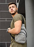 Мужская черная сумка-мессенджер (слинг) наплечная через плечо, кожзам (качественная экокожа), фото 9