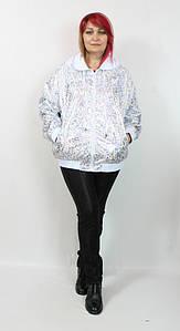 Турецкая женская короткая ветровка с капюшоном, размеры 56-64