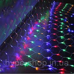 Гирлянда сетка, цветная 96 шт, 1,5*1,5 м, от сети