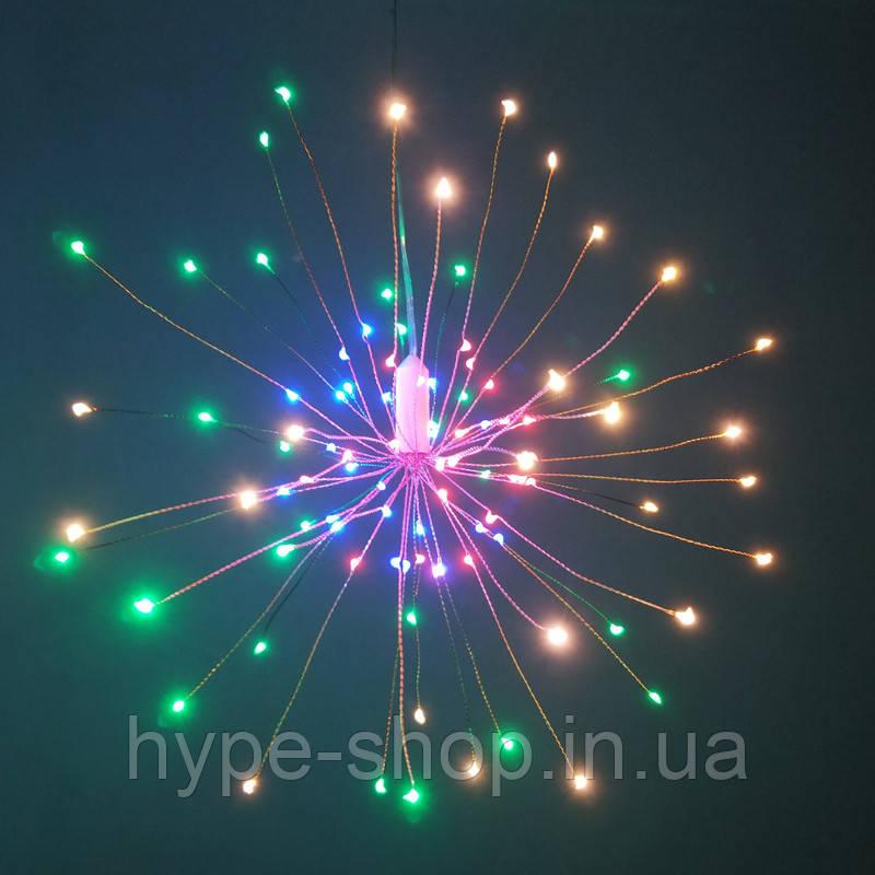 Світильник світлодіодний RGB LED водонепроникний, на батарейках АА, мідний дріт