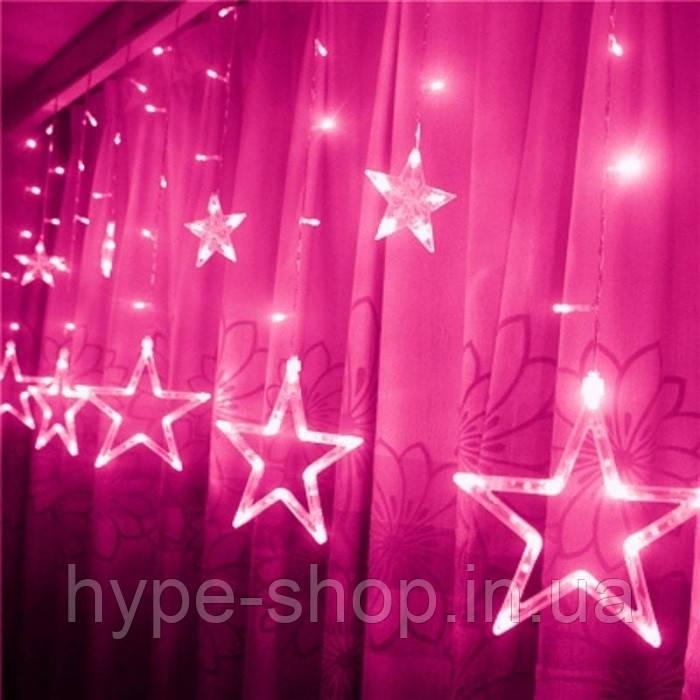 Новогодняя гирлянда штора Звездный занавес 3 х 1 м (розовый)