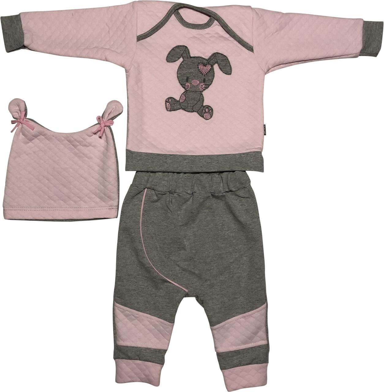Дитячий костюм ріст 68 3-6 міс трикотажний капітон рожевий костюмчик на дівчинку комплект для новонароджених