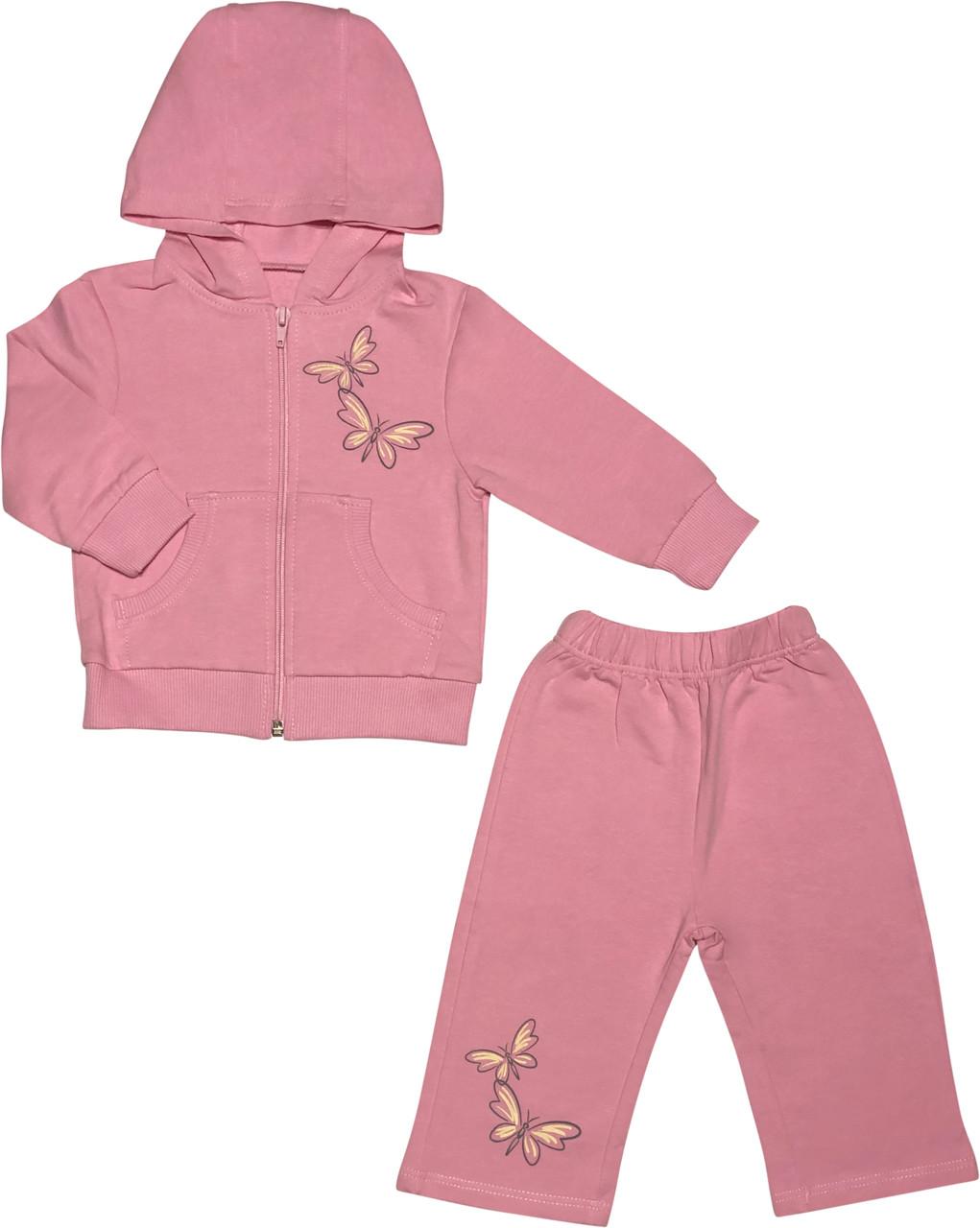 Дитячий костюм ріст 74 6-9 міс трикотажний рожевий костюмчик на дівчинку комплект для новонароджених малюків
