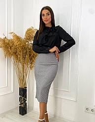 Женская черно-белая юбка-карандаш с узором гусиная лапка