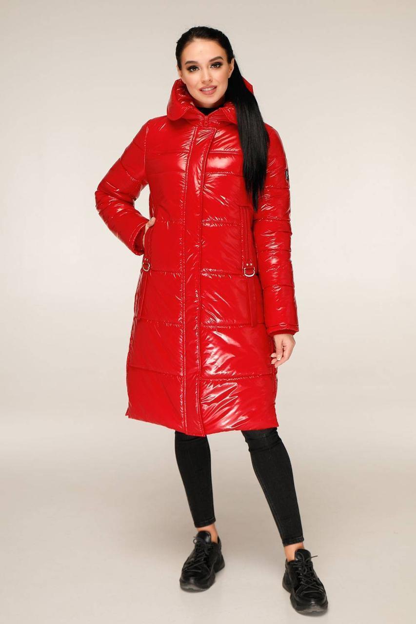 Удлиненная зимняя куртка из лаковой плащевки с контрастной подкладкой с 44 по 56 размер