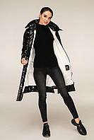 Удлиненная зимняя куртка из лаковой плащевки с контрастной подкладкой с 44 по 56 размер, фото 4