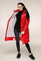 Удлиненная зимняя куртка из лаковой плащевки с контрастной подкладкой с 44 по 56 размер, фото 7