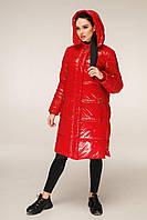 Удлиненная зимняя куртка из лаковой плащевки с контрастной подкладкой с 44 по 56 размер, фото 8