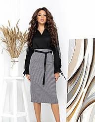 Женская черно-белая юбка миди с принтом гусиная лапка