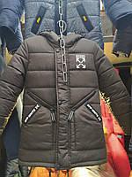 Зимняя черная куртка на мальчика на овчине 5-12 лет