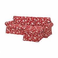 ЕКТОРП 3-місний диван із кушеткою - ВІРЕСТАД червоний/білий - IKEA