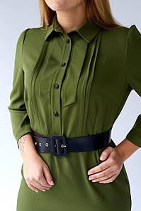 Женское деловое платье рубашка миди 48,50,52,54 размер Хаки