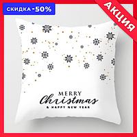 """Новогодняя декоративная подушка """"Marry Christmas"""" со снежинками"""
