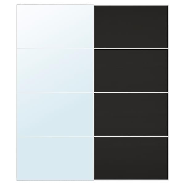 АУЛІ / МЕХАМН Пара розсувних дверцят - дзеркальне скло/п/чорно-коричн ясен обробл морилк - IKEA