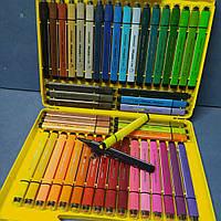 Фломастеры в чемодане AIHAO-1998-48 цветов в пластиковом пенале ( треугольный корпус) с печатью