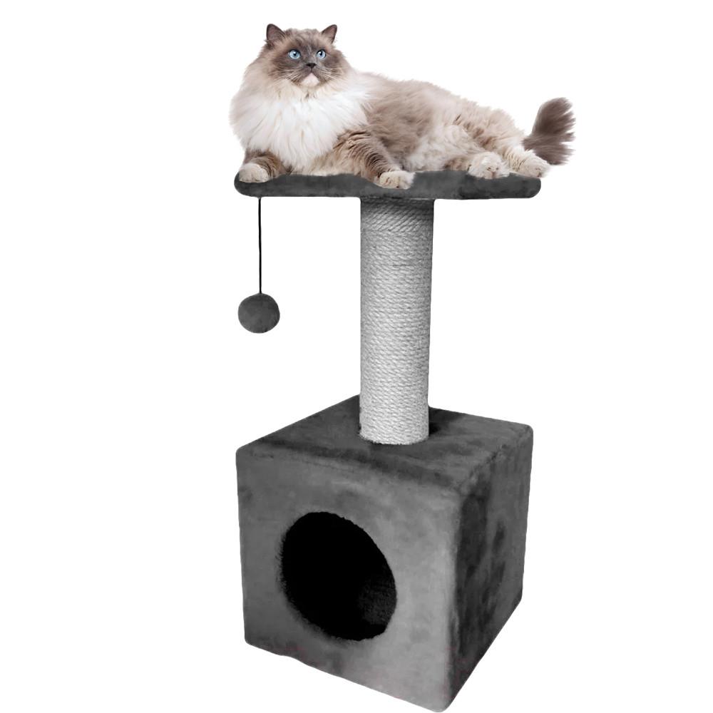 Домик-когтеточка с полкой Ося 36х36х80см (дряпка) для кошки Серый
