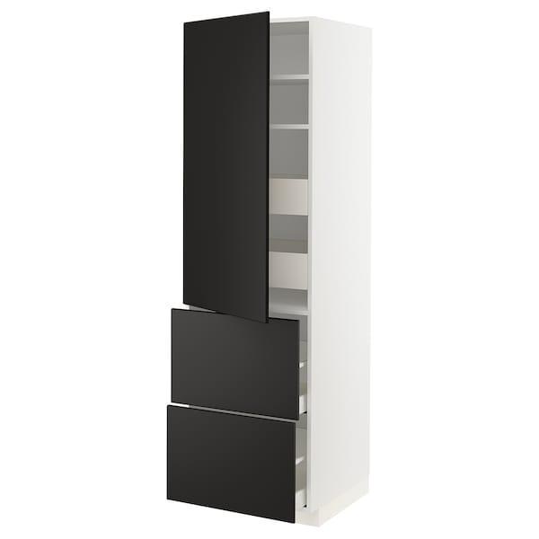 МЕТОД / МАКСІМЕРА Вис шафа/полиці/4 шух/двер/2 фр пан - білий/КУНГСБАККА антрацит - IKEA
