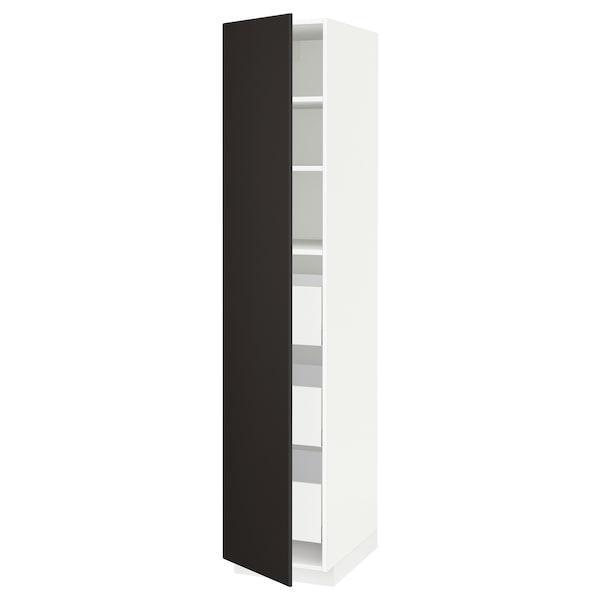 МЕТОД / МАКСІМЕРА Висока шафа із шухлядами - білий/КУНГСБАККА антрацит - IKEA