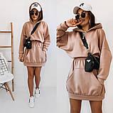 Теплое платье-худи из трехнитки с капюшоном 35-375, фото 2