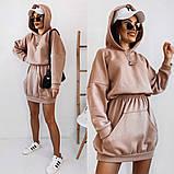 Теплое платье-худи из трехнитки с капюшоном 35-375, фото 7