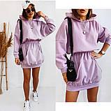 Теплое платье-худи из трехнитки с капюшоном 35-375, фото 5