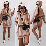 Теплое платье-худи из трехнитки с капюшоном 35-375, фото 6