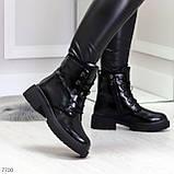 Черные лаковые зимние женские ботинки в классическом стиле, фото 6